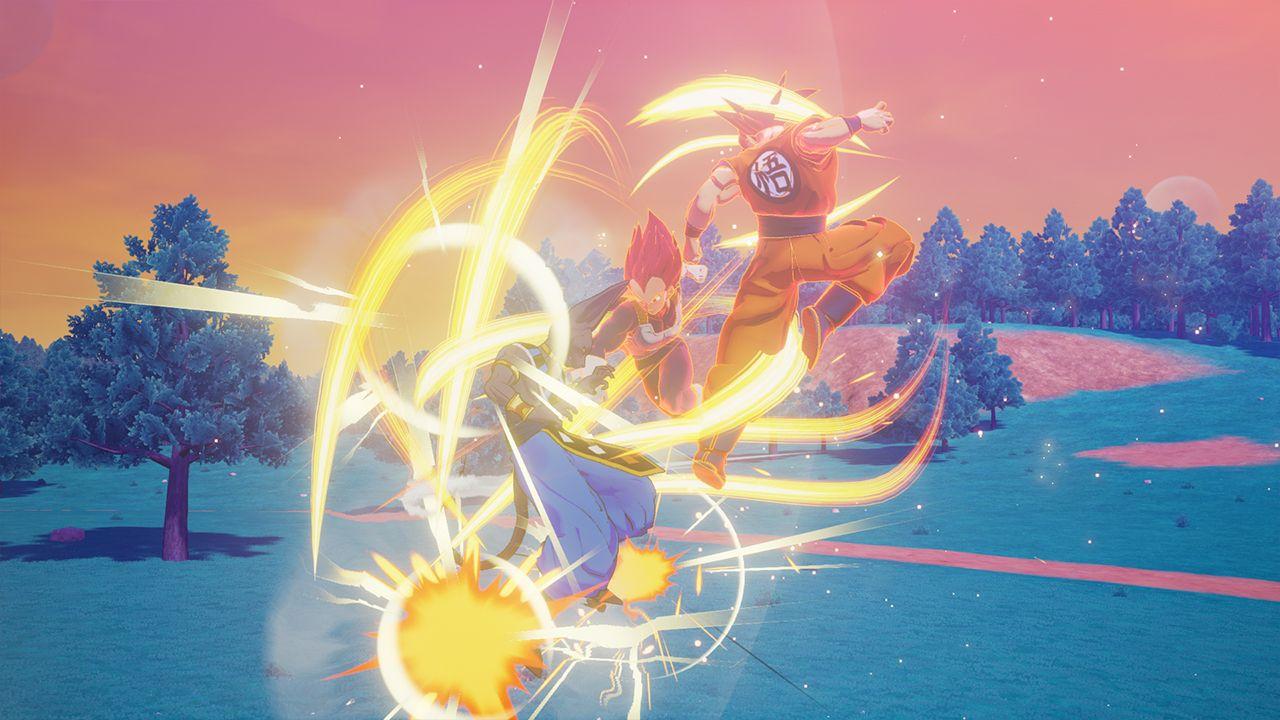 Dragon Ball Z Kakarot Goku and Vegeta vs Beerus