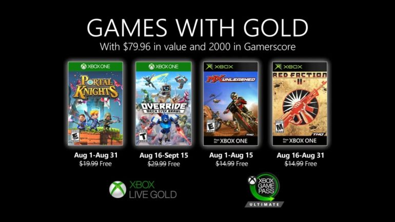 Xbox Games with Gold Aug. 2020