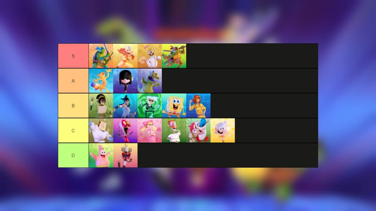 nickelodeon all star brawl tier list
